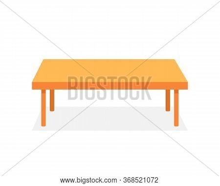 Brown Table Like Corporate Desk. Concept Of Minimal Writing-table For Seminar Or Conference And Boar