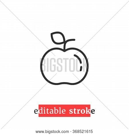 Minimal Editable Stroke Apple Icon. Concept Of Fresh Fruit Badge With Change Line Thickness. Flat Li