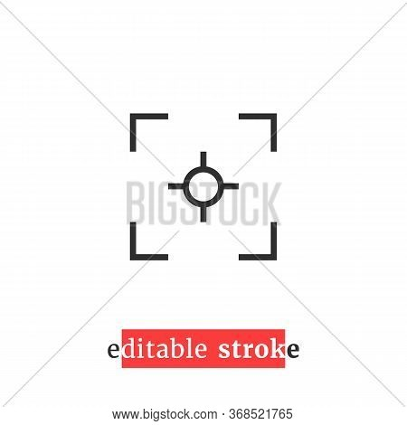 Minimal Editable Stroke Capture Icon. Flat Lineart Style Trend Modern View Finder Logotype Graphic D