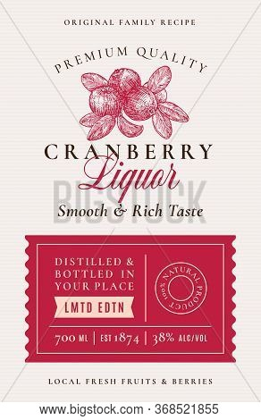 Family Recipe Cranberry Liquor Acohol Label. Abstract Vector Packaging Design Layout. Modern Typogra