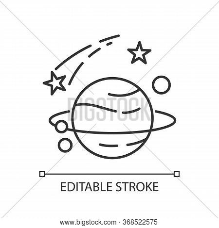 Astronomy Pixel Perfect Linear Icon. Natural Science, Space Exploration Thin Line Customizable Illus