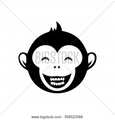 Laughing Monkey Head Cartoon Icon Monochrome. Cheerful Character Vector