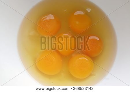 Egg Yolk. Six Egg Yolks. Eggs Preparing For Bake Cake.
