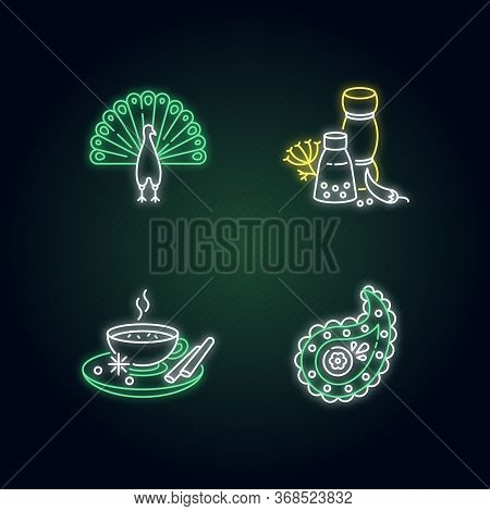 Indian Culture Neon Light Icons Set. Peacock. Traditional Cuisine. Masala Chai. Paisley Pattern. And