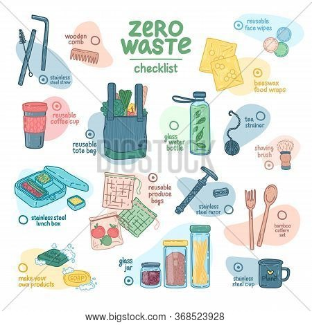 Zero Waste Checklist Design. Eco Friendly Banner Concept With Recyclable And Reusable Products. Zero