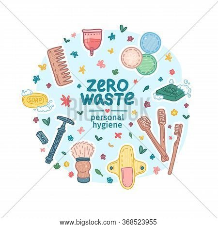 Zero Waste Hygiene Kit Design. Eco Friendly Banner Concept With Recyclable And Reusable Products For