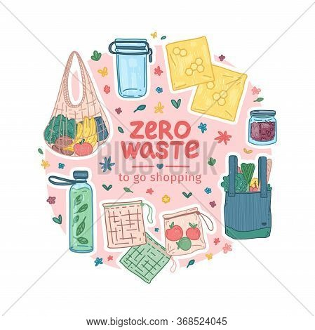 Zero Waste Starter Kit Design. Eco Friendly Banner Concept With Recyclable And Reusable Products. Ze