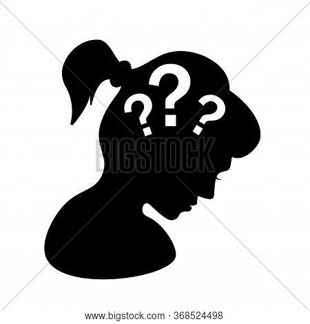 Doubt Concept Logo With A Silhouette Of A Woman. Flat Style Trend Modern Simple Man Submit Logo Grap