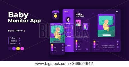 Childcare App Screen Vector Adaptive Design Template. Baby Monitoring Application Night Mode Interfa