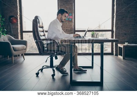 Profile Side View Of His He Nice Attractive Chic Confident Focused Man Qualified It Expert Economist