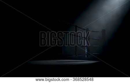A Dramatic Closeup Of A Dimly Spotlit Corner Of A Boxing Ring Surrounded By Ropes On A Dark Isolated