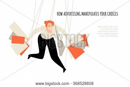 How Advertising Manipulates Your Choice. Conceptual Illustration With A Puppet Holding Shopping Bags