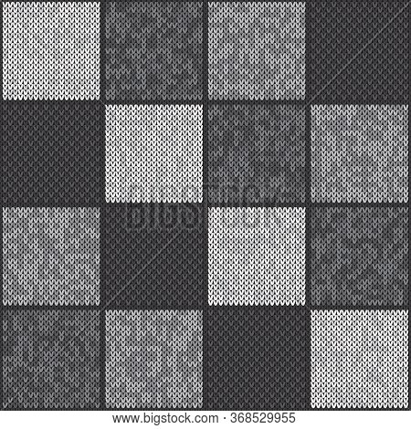 Abstract Checkered Knitted Pattern. Vector Seamless Background With Shades Of Gray Colors. Knitting