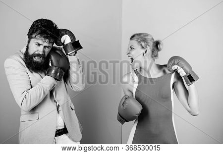 Complicated Relationships. Couple Romantic Relationships. Man And Woman Boxing Fight. Boxers Fightin