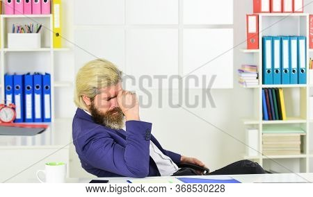 Tired Man At Office Table With Folder. Business Intelligence Analyst. Enterprise Resource Planning.