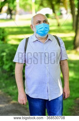 Quarantine Extended. Mask Protecting From Virus. Pandemic Concept. Limit Risk Infection Spreading. S