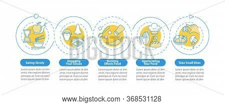 Nutrition Rules Vector Infographic Template. Eating Slowly, Taking Small Bites Presentation Design E