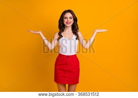 Photo Of Attractive Lady Hold Open Palms Novelty Products Sale Prices Offer Advising Choose One Best