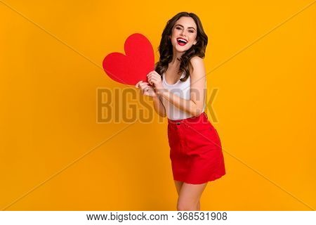 Photo Of Pretty Funny Cheerful Lady Hold Big Paper Heart Postcard Good Mood 14 February Present Wear