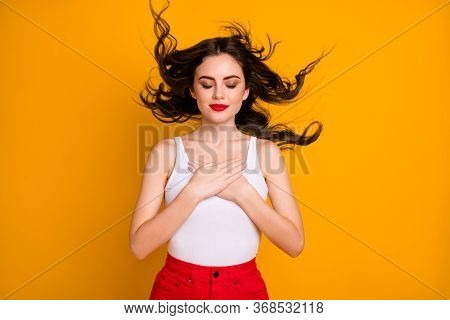 Photo Of Pretty Attractive Lady Hairdo Flight Satisfied Enjoy Summer Breeze Arms Chest Eyes Closed R