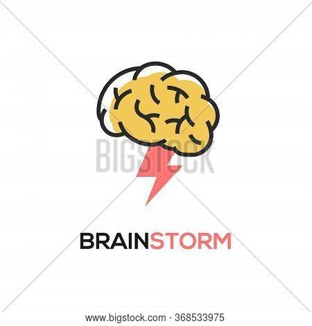 Brainstorm Vector Icon Idea. Brain Storm Lighting Power Creative Concept, Mind Illustration