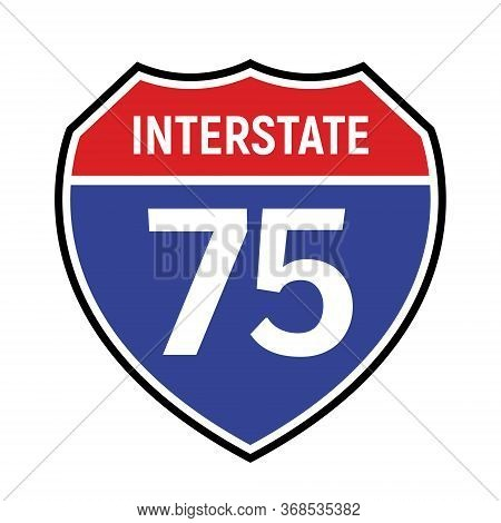 75 Route Sign Icon. Vector Road 75 Highway Interstate American Freeway Us California Route Symbol