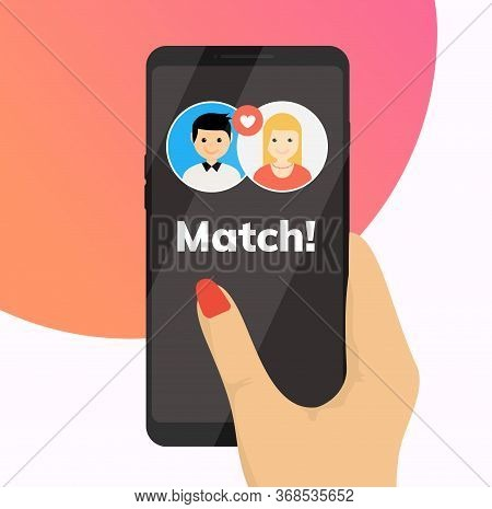 Dating App Online Mobile Concept. Female Male Profile Flat Design. Couple Dating Match For Relations