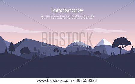 Landscape Sunset Flat Background. Nature Sky, Mountain Scene, Summer Cartoon Sunset Landscape Travel