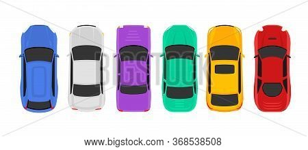 Vector Car Top View Icon Illustration. Vehicle Flat Isolated Car Icon