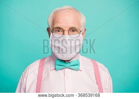 Close-up Portrait Of His He Funky Hipster Elderly Guy Wearing Gauze Mask Respiratory Influenza Flu F