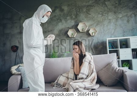 Photo Of Young Sick Patient Lady Sit Sofa Unwell Call Ambulance Guy Doc Virologist Examination Cough