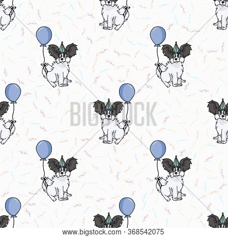 Hand Drawn Cute Papillon Puppy With Party Hat Seamless Vector Pattern. Purebred Pedigree Puppy Domes