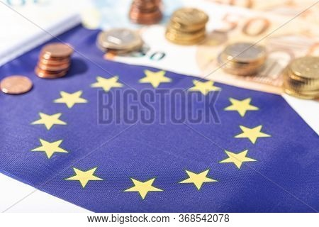 European Union Financial Stimulus On Coronavirus Covid-19 Pandemic Concept. European Union Flag With