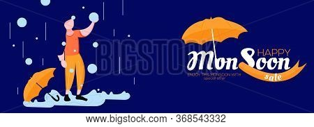 Social Media Banner Design For Happy Monsoon Sale With Special Offers With Rainy Background And Umbr