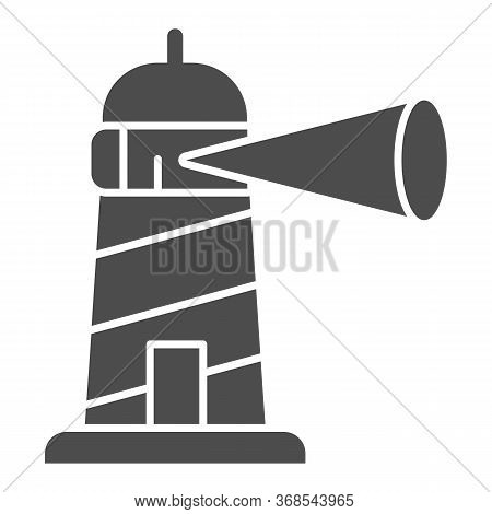 Beacon Building Solid Icon, Maritime Navigation Concept, Spotlight In Lighthouse Sign On White Backg
