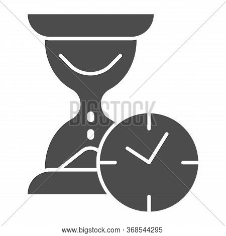 Hourglass With Clock Solid Icon, Time Passing Concept, Urgency And Running Out Of Time Sign On White