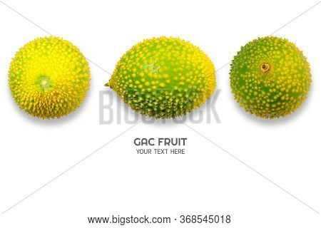 Gac Fruit Isolated On White Background. Baby Jackfruit, Cochinchin Gourd, Spiny Bitter Gourd, Sweet
