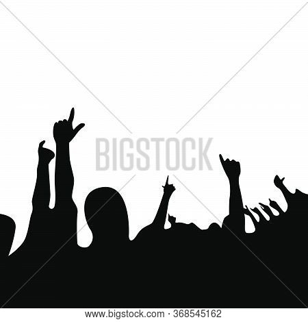 Silhouette Of Cheers Of The Music Concert Audience Vector Background