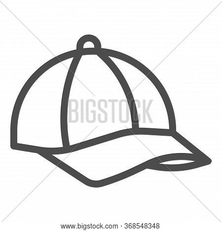 Cap Line Icon, Summer Concept, Baseball Cap Sign On White Background, Sport Hat Icon In Outline Styl