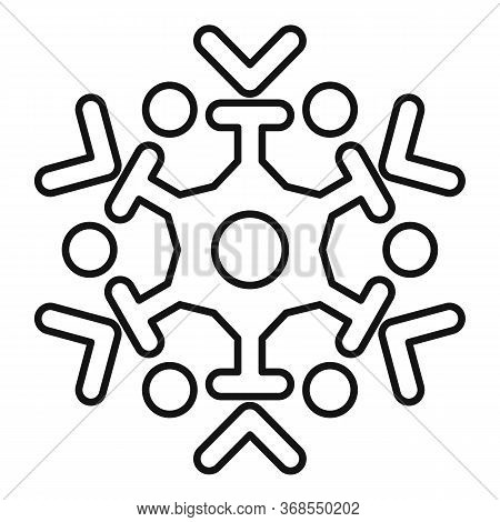 Frozen Snowflake Icon. Outline Frozen Snowflake Vector Icon For Web Design Isolated On White Backgro