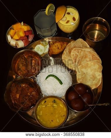 Indian Bengali Thali For Jamai Sasthi Ritual. This Ritual Held Every Year In Bengali Families Which
