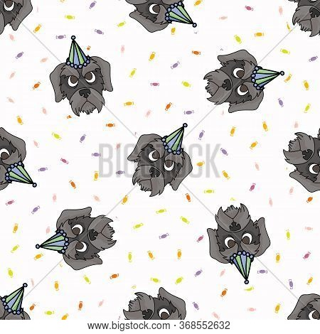 Hand Drawn Cute Schnauzer Puppy Face With Party Hat Seamless Vector Pattern. Purebred Pedigree Dog C