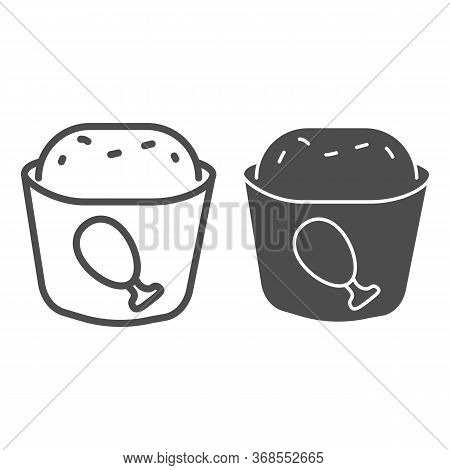 Meat Muffin Line And Solid Icon, Bakery Concept, Cupcake With Chicken Sign On White Background, Fast