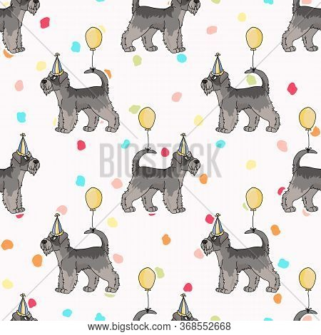 Hand Drawn Cute Schnauzer Breed Dog With Party Hat Seamless Vector Pattern. Purebred Pedigree Puppy