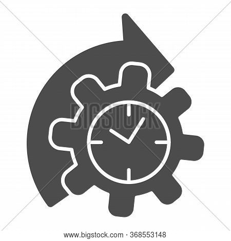 Watches And Arrow With Gear Solid Icon, Time Managment Concept, Cogwheel With Clock Reprocessing Sig