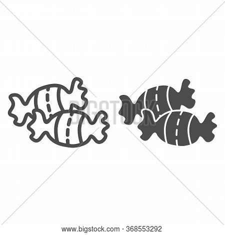 Candy Line And Solid Icon, Confectionary Concept, Caramel Sweets Sign On White Background, Sweet Can