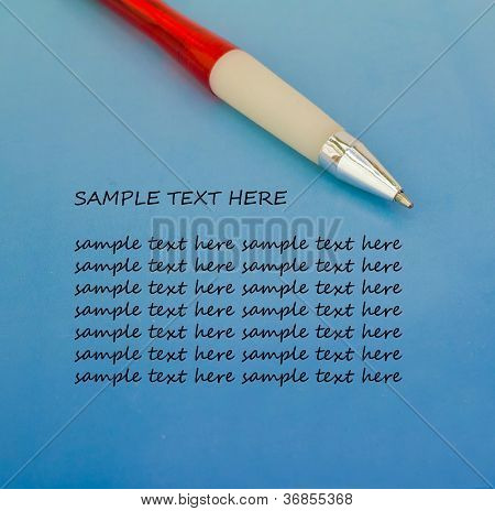 Pen with sample text