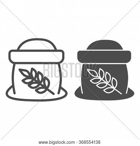 Flour In Open Bag Line And Solid Icon, Bakery Concept, Bag Of Grain Sign On White Background, Sack O