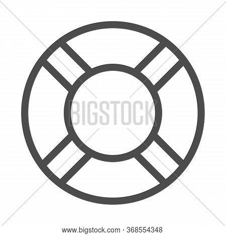 Lifebuoy Line Icon, Summer Concept, Lifesaver Sign On White Background, Life Saving Ring Icon In Out