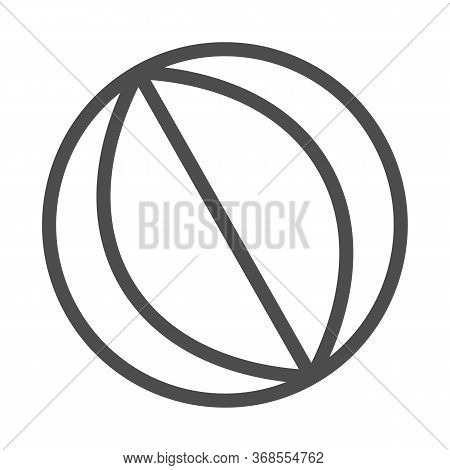 Beach Ball Line Icon, Summer Vacation Concept, Rubber Beachball Sign On White Background, Toy Ball I
